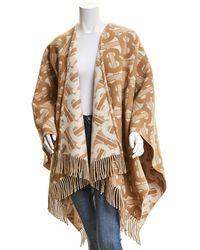 Burberry Monogram Wool & Cashmere-blend Cape - Natural