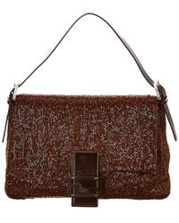 Fendi Limited Edition Brown Beaded Leather Mamma Baguette Bag