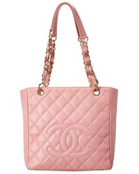 Chanel Pink Quilted Caviar Leather Petite Shopping Tote