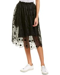 Moncler Embroidered Organza Silk Skirt - Black
