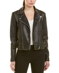 Bagatelle - Nyc Studded Leather Biker Jacket - Lyst