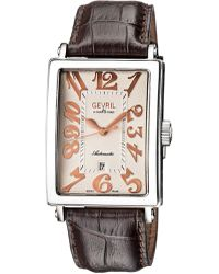 Gevril Watches Avenue Of Americas Date Silver-tone Dial Watch, 34mm - Brown
