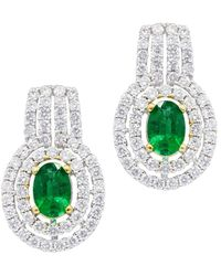 Diana M. Jewels - . Fine Jewelry 18k 2.14 Ct. Tw. Diamond & Emerald Earrings - Lyst