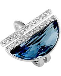 Swarovski Crystal Rhodium Plated Ring - Blue