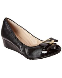 Cole Haan Emory Bow Leather Wedge - Black