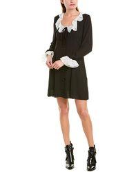 Anna Sui Crepe & Georgette Shift Dress - Black