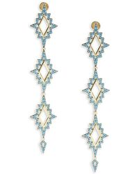 Noir Jewelry - Turquoise & 18k Gold-plated Drop Earrings - Lyst