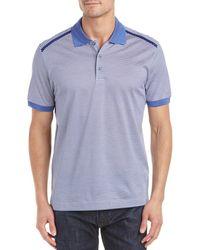 Canali Striped Polo Shirt - Blue