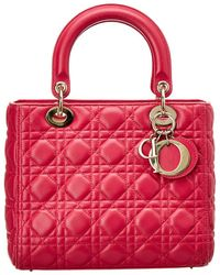 Dior Pink Quilted Lambskin Leather Small Lady Dior