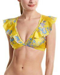 Sam Edelman Provencal Ruffle Bikini Top - Yellow