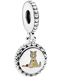 PANDORA Silver Enamel Cat Stick Figure Dangle Charm - Metallic