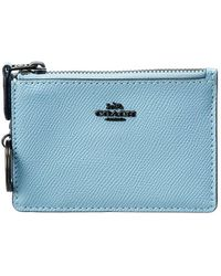 COACH Mini Id Skinny Leather Card Case - Blue