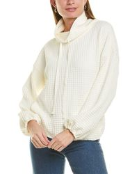 Max Studio Waffle-knit Pullover - White