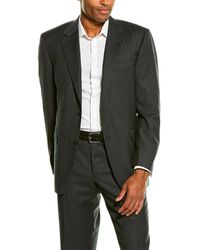 Canali 2pc Wool Suit With Flat Front Pant - Black