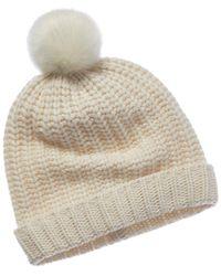 0bdb2d9e781 Lyst - Portolano Cashmere Basic Knit Beanie Hat in White