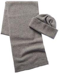 Portolano Cashmere Hat & Scarf Gift Box - Gray