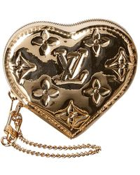Louis Vuitton Gold Miroir Leather Heart Coin Purse - Metallic