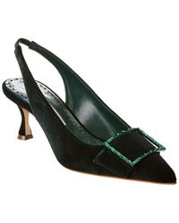 Manolo Blahnik Dolores Velvet Slingback Court Shoes - Green