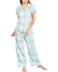 Splendid 2pc Notched Pyjama Set - Blue