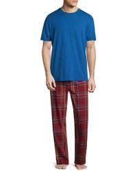Original Penguin Plaid Tonal Cotton Pyjama Set - Blue