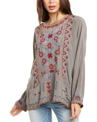 Johnny Was Foro Silk Blouse - Grey