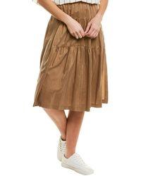Vince Shirred Panel Silk Midi Skirt - Brown