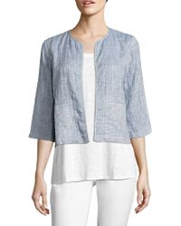 Eileen Fisher - Quilted Organic Cotton & Organic Linen Jacket - Lyst
