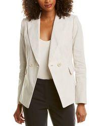 Elie Tahari Jezebel Linen-blend Jacket - White