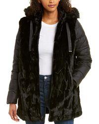 Via Spiga Hooded Coat - Black