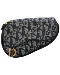 Dior Navy Trotter Canvas Saddle Pouch - Blue