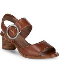 Bernardo - Stacked Heel Leather Sandals - Lyst