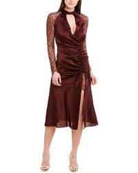 Jonathan Simkhai Ruched Silk-blend Midi Dress - Purple