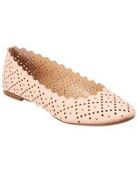 Chloé Lauren Scalloped Studded Leather Ballerina Flat - Pink