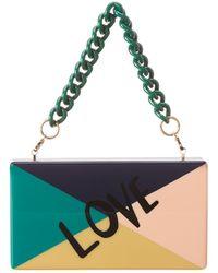 Edie Parker Love Colour Block Jean Clutch - Blue