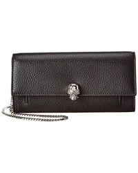 Alexander McQueen Skull Leather Wallet On Chain - Black