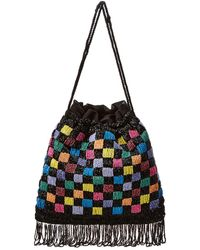 STAUD Beaded Check Drawstring Pouch - Black
