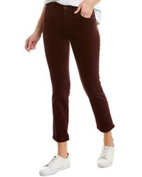AG Jeans The Isabelle Rich Carmine Velvet High-rise Straight Crop - Red