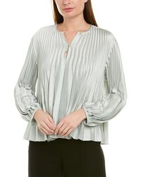 Vince Pleated Satin Blouse - Green
