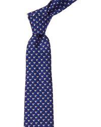 Ferragamo Blue Whales Silk Tie