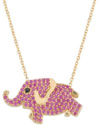 Gabi Rielle - Gold Over Silver Cz Elephant Necklace - Lyst