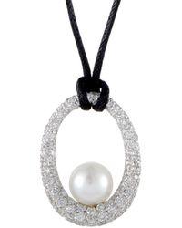 Mikimoto 18k 1.35 Ct. Tw. Diamond & 8.5-9mm Pearl Necklace - Metallic