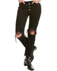 Amiri Leather-trim Crop Flare Jean - Black