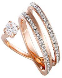 Swarovski Crystal Rose Gold Plated Ring - Metallic