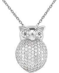Gabi Rielle Silver Cz Owl Pendant Necklace - Metallic