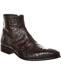 Jo Ghost Reptile-embossed Leather Boot - Brown
