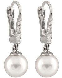 Splendid - 14k Diamond & 7-7.5mm Akoya Pearl Earrings - Lyst