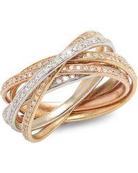 Effy | Diamond & 14k White Yellow & Rose Gold Ring | Lyst