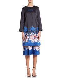 SUNO Floral Jacquard Jacket - Blue