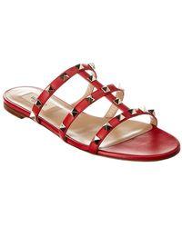 Valentino Rockstud Caged Leather Slide - Red