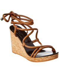 Jimmy Choo Allis 95 Leather Wedge Sandal - Brown